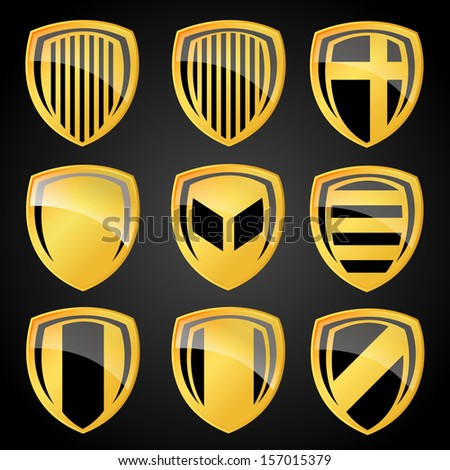 Vector Gold Labels plate Set. Easy to edit. - stock vector
