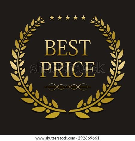 vector gold laurel wreath with sample text. best price - stock vector
