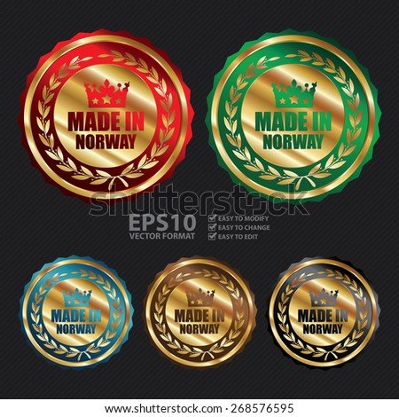 Vector : Gold Metallic Made in Norway Badge, Label, Sticker, Banner, Sign or Icon - stock vector