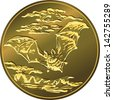 Vector gold money Polish Zloty coin with flying bat. - stock photo