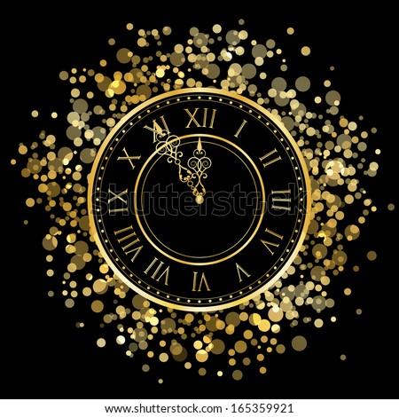 Vector gold New Year Clock - stock vector