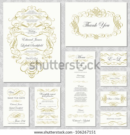 Vector Gold Ornament Frame Set. Easy to edit. Perfect for invitations or announcements. - stock vector