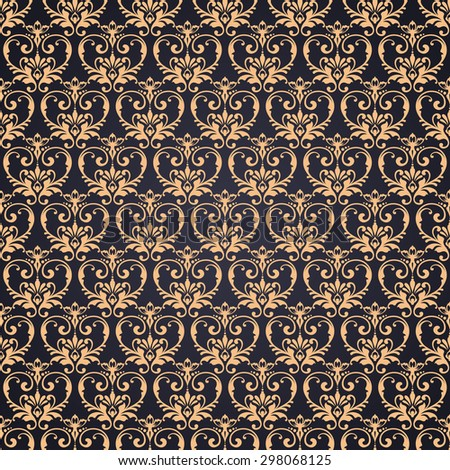 Vector gold ornate damask background in Eastern style. Seamless abstract decorative elegant pattern. - stock vector
