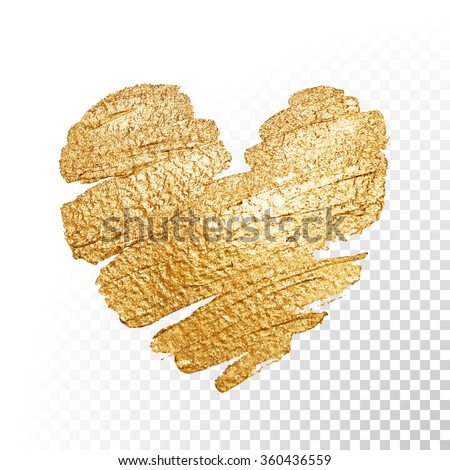Vector gold paint heart on transparent background. Love concept design. - stock vector