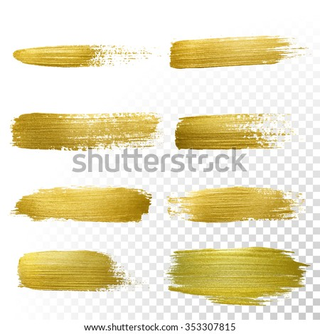 Vector gold paint smear stroke stain set. Abstract gold glittering textured art illustration. Abstract gold glittering textured art illustration. - stock vector