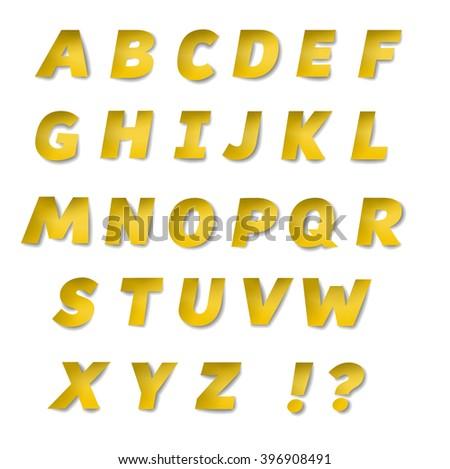Vector Gold Paper Font Gold Alphabet Stock Vector 396908491 ...