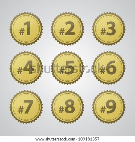 Vector gold pressed number badges.