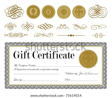 Vector Gold Seal and Certificate Set. Easy to edit. Perfect for invitations or announcements. - stock vector