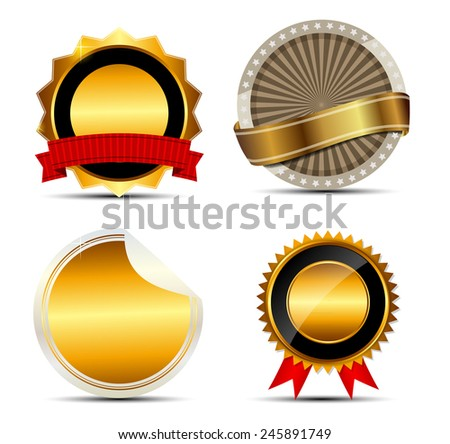 Vector Gold Sign, Label Template Illustration. EPS10 - stock vector