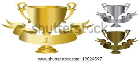 vector gold, silver and bronze trophy