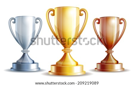 Vector gold, silver and bronze winners cup. Vector illustration - stock vector