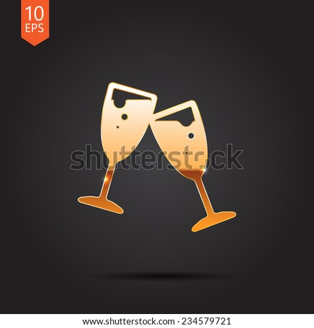 Vector gold stemware icon isolated on dark background. Eps10 - stock vector