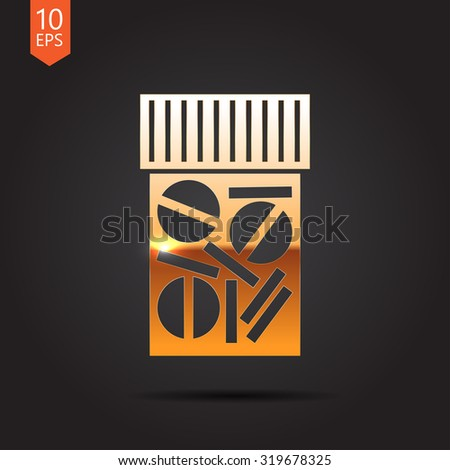 Vector gold tablet bottle on dark background . Health icon  - stock vector