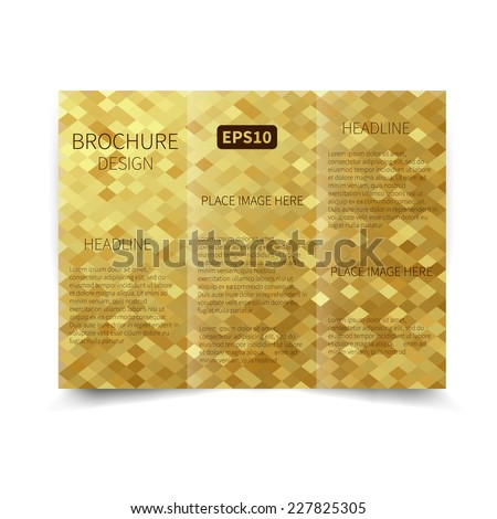 Vector gold tri-fold brochure design template with abstract geometric background EPS10 Tri-Fold Mock up & back Brochure Design  - stock vector