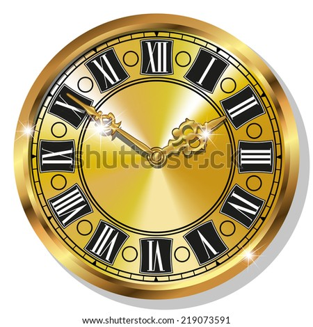 Vector Gold vintage watches isolated on white background - stock vector