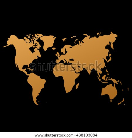 Vector gold world map on black vectores en stock 438103084 vector gold world map on black background doodle world map vector world gold gumiabroncs Gallery