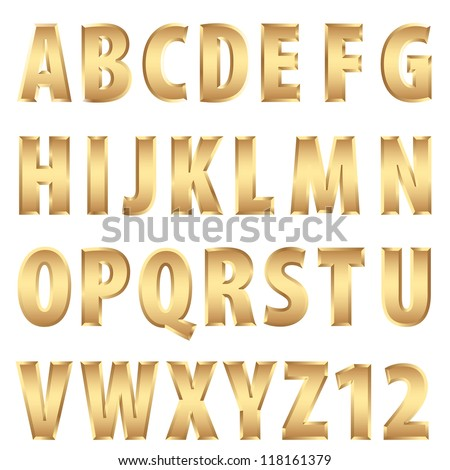 vector golden alphabet - stock vector