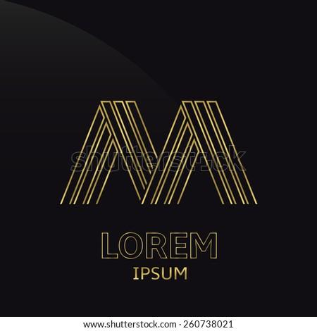 Vector Golden Alphabet Letter M Symbol Stock Vector 260738021
