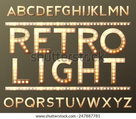 vector golden alphabet with bulb lamps vector - stock vector
