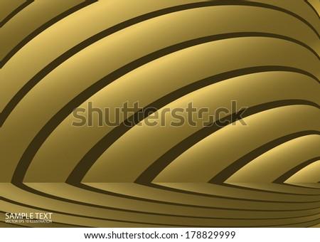 Vector golden arc stripes background  illustration - Abstract curved background gold metal design illustration - stock vector