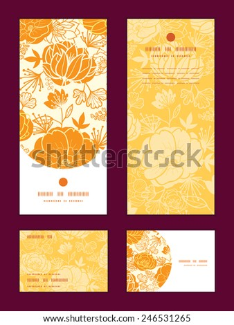 Vector golden art flowers vertical frame pattern invitation greeting, RSVP and thank you cards set - stock vector