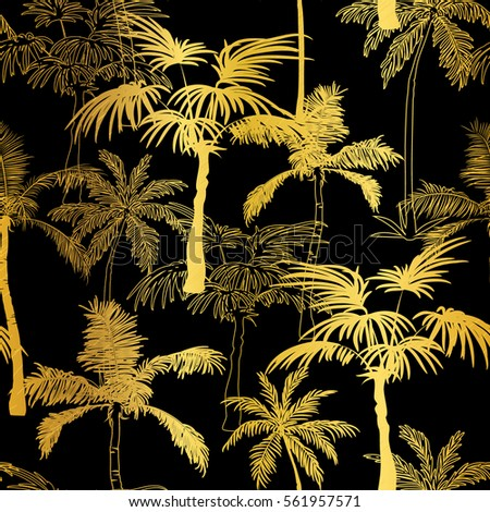 Vector Golden Black Palm Trees Summer Seamless Pattern Background Great For Tropical Vacation Fabric