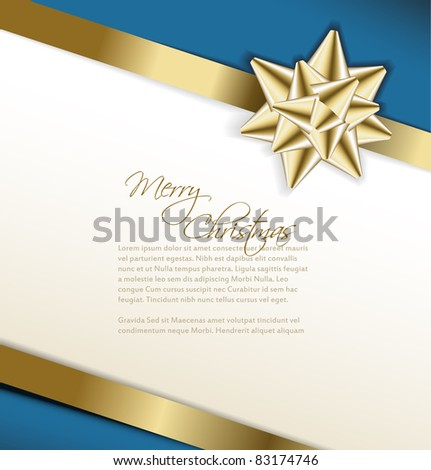 Vector golden bow on a ribbon with white and blue background -Christmas card - stock vector
