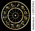 Vector golden circle with zodiac signs on black background - stock photo