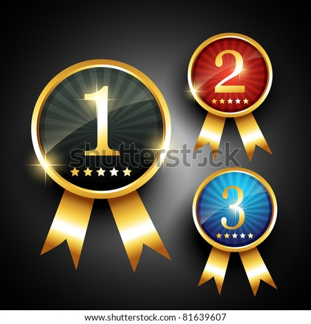 vector golden color ranking label sign - stock vector