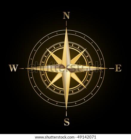 vector golden compass symbol - stock vector