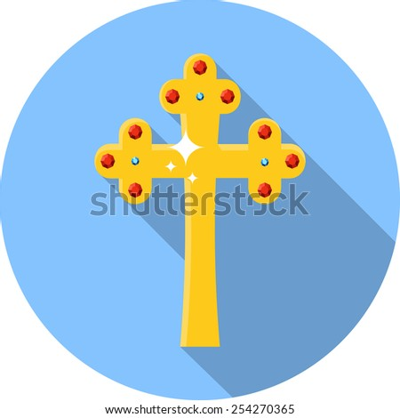 Vector Golden Cross with  Ruby and Diamond  - stock vector