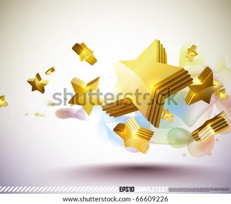 Vector Golden 3D Stars - stock vector