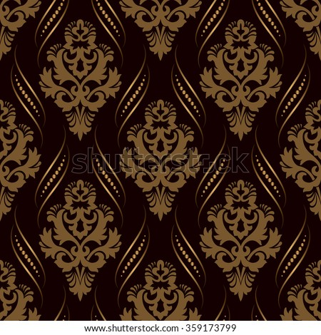Vector golden damask seamless pattern background. Classical luxury old fashioned damask ornament, royal victorian seamless texture for wallpapers, textile, wrapping. Exquisite floral baroque template. - stock vector
