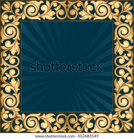 Vector golden decorative frame - stock vector