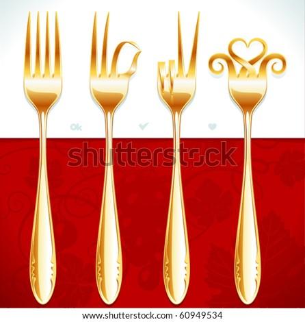 Vector golden fork gestures - stock vector