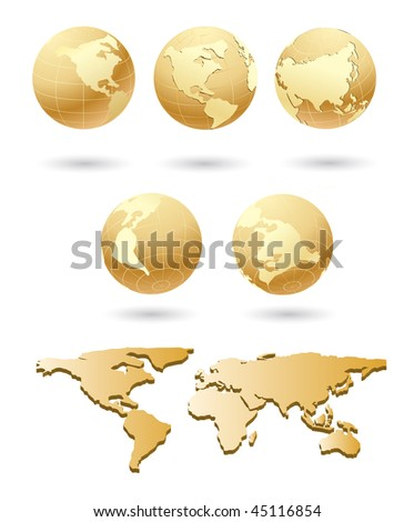 vector golden globe with world  map