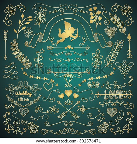 Vector Golden Hand Sketched Rustic Floral Doodle Swirls, Branches, Design Elements. Vector Illustration. Pattern Brushes. Love, Wedding, Valentine - stock vector