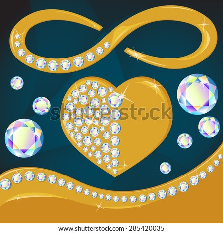 Vector golden heart with diamonds set, realistic illustration