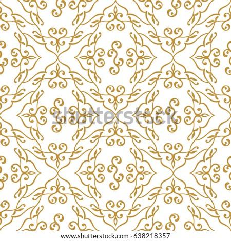 Vector Golden Islamic Pattern Seamless Arabic Floral Geometric PatternTraditional Muslim Background Oriental