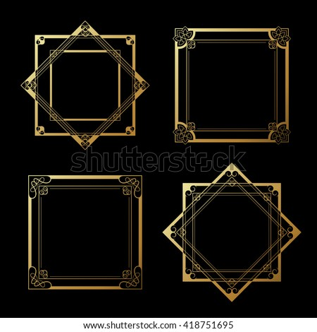 Vector golden labels on black background. Square and star frames. Decorative border.