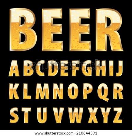 vector golden letters with beer texture - stock vector