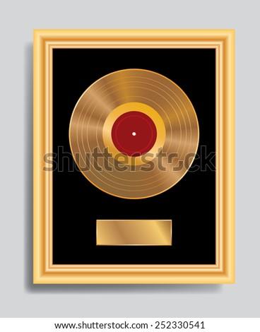 vector golden LP in golden frame - stock vector