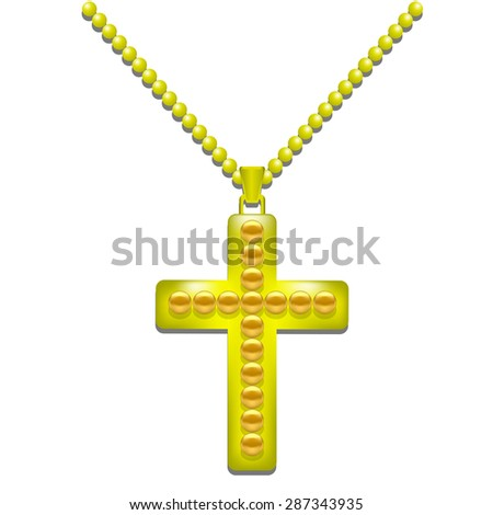 Vector Golden Metal Cross Isolated on White Background. Christian Religious Symbol. - stock vector