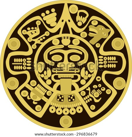 Vector golden ornament person round in the style of the ancient Maya