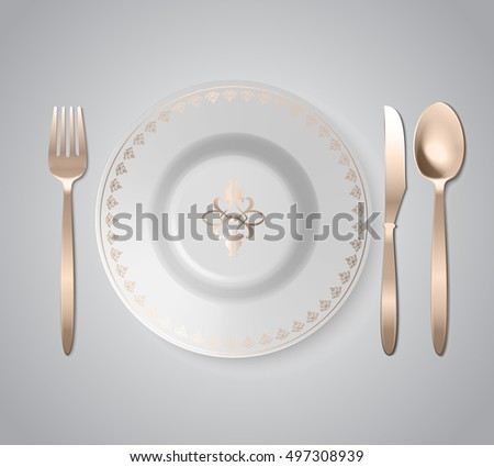 Vector Golden Plate With Utensils Set