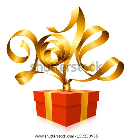 Vector golden ribbon in the shape of 2014 and gift box. Symbol of New Year - stock vector
