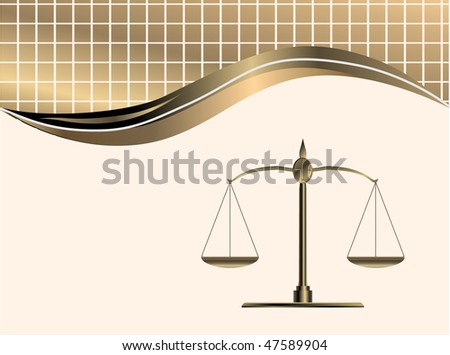 vector golden scale weight on background - stock vector