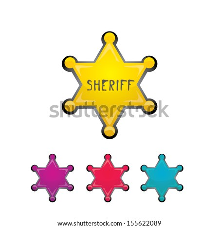 vector golden sheriff star isolated on white background. - stock vector