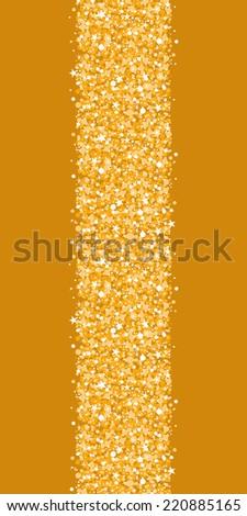 Vector golden shiny glitter texture vertical border seamless pattern background - stock vector