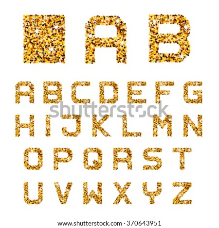 vector golden sparkles alphabet font letters - stock vector